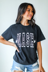 Black - Model wearing the Nash Star Graphic Tee