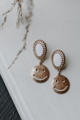 Gold - Smiley Face Drop Earrings from Dress Up