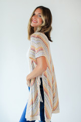 Natural - Striped Knit Cardigan from Dress Up