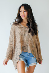 Taupe - Oversized Loose Knit Sweater