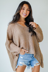 Taupe - Oversized Loose Knit Sweater from Dress Up