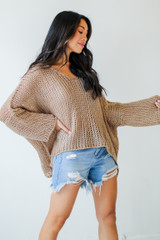 Oversized Loose Knit Sweater Side View