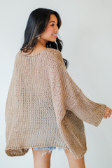 Oversized Loose Knit Sweater Back View