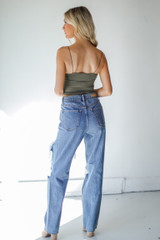 Distressed Dad Jeans Back View