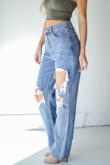 Distressed Dad Jeans Side View on model