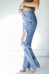 Distressed Dad Jeans Side View