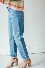 High-Rise Mom Jeans Side View on model