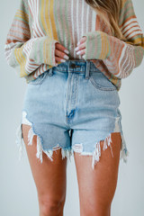 Distressed Denim Shorts Front View