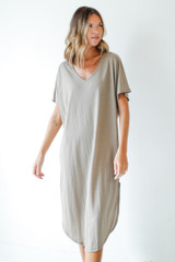 Taupe - V-Neck Midi Dress from Dress Up