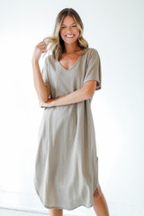V-Neck Midi Dress in Taupe Front View