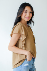 Ruffle Blouse in Camel Side View