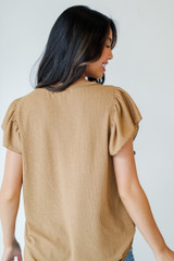 Ruffle Blouse in Camel Back View