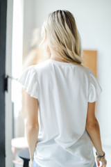 Ruffle Blouse in Ivory Back View