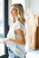Ruffle Blouse in Ivory Side View