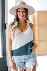 Taupe - Model wearing a Color Block Sweater Tank