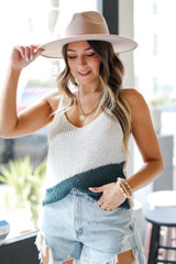 Taupe - Dress Up model wearing a Color Block Sweater Tank