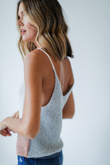 Color Block Sweater Tank in Grey Side View