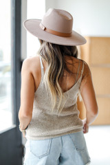 Color Block Sweater Tank in Taupe Back View