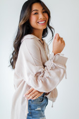 Taupe - Ruched Sleeve Blouse from Dress Up