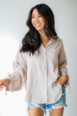 Ruched Sleeve Blouse Front View