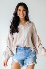 Dress Up model wearing a Ruched Sleeve Blouse