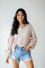 Model wearing a Ruched Sleeve Blouse
