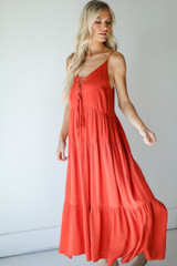 Rust - Tiered Maxi Dress from Dress Up