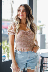 Taupe - Smocked Floral Top