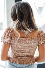 Smocked Floral Top in Taupe Back View
