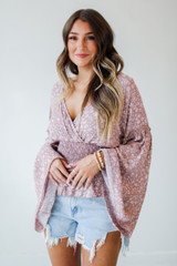 Mauve - Floral Bell Sleeve Blouse from Dress Up