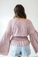 Floral Bell Sleeve Blouse Back View