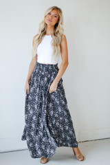 Charcoal - Floral Maxi Skirt from Dress Up