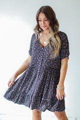 Navy - Floral Button Front Dress
