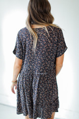 Floral Button Front Dress in Navy Back View