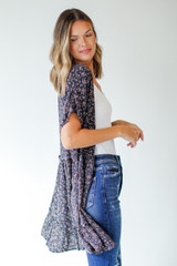 Floral Button Front Dress in Navy Side View