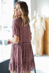 Floral Button Front Dress in Mauve Back View