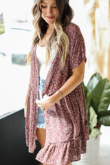 Floral Button Front Dress in Mauve Side View