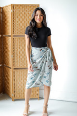 Floral Wrap Midi Skirt Front View