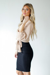 Wrap Top in Tan Side View