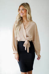 Wrap Top in Tan Front View
