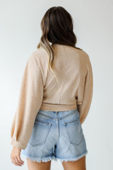 Wrap Top in Tan Back View