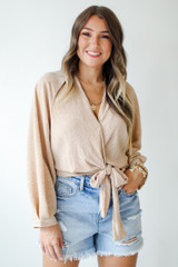 Wrap Top in Tan Front View on model