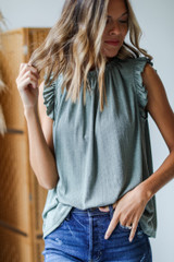 Olive - Dress Up model wearing a Ruffle Sleeve Top