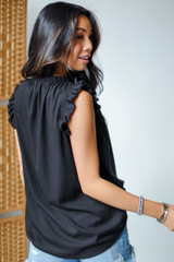 Ruffle Sleeve Top in Black Back View