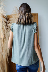 Ruffle Sleeve Top in Olive Back View