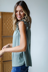 Ruffle Sleeve Top in Olive Side View