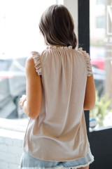 Ruffle Sleeve Top in Taupe Back View
