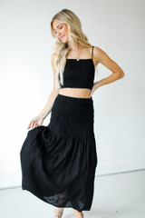 Smocked Maxi Skirt Front View