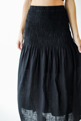 Close Up of a Smocked Maxi Skirt