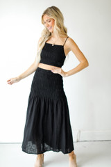 Dress Up model wearing a Smocked Maxi Skirt